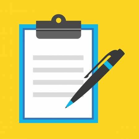 Clipart with a yellow background and blue clipboard, the clipboard has a sheet of paper on it with a black and blue pen off to the side.